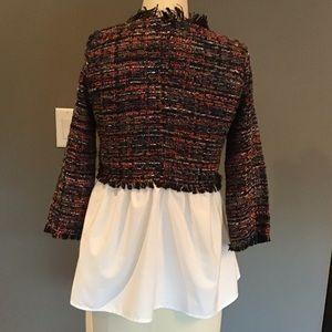 Zara Tops - 💎HOST PICK💎 Tweed and Poplin Blouse Zara NWOT